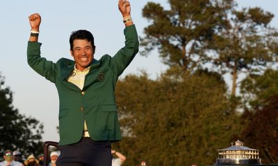 Hideki Matsuyama Photographed in Airport with Green Jacket After Masters Win