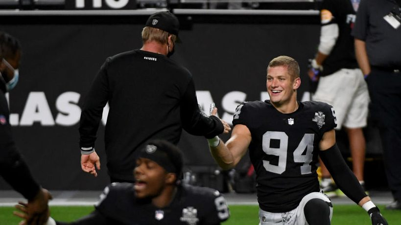 Jon Gruden on Carl Nassib: What makes a man different makes him great