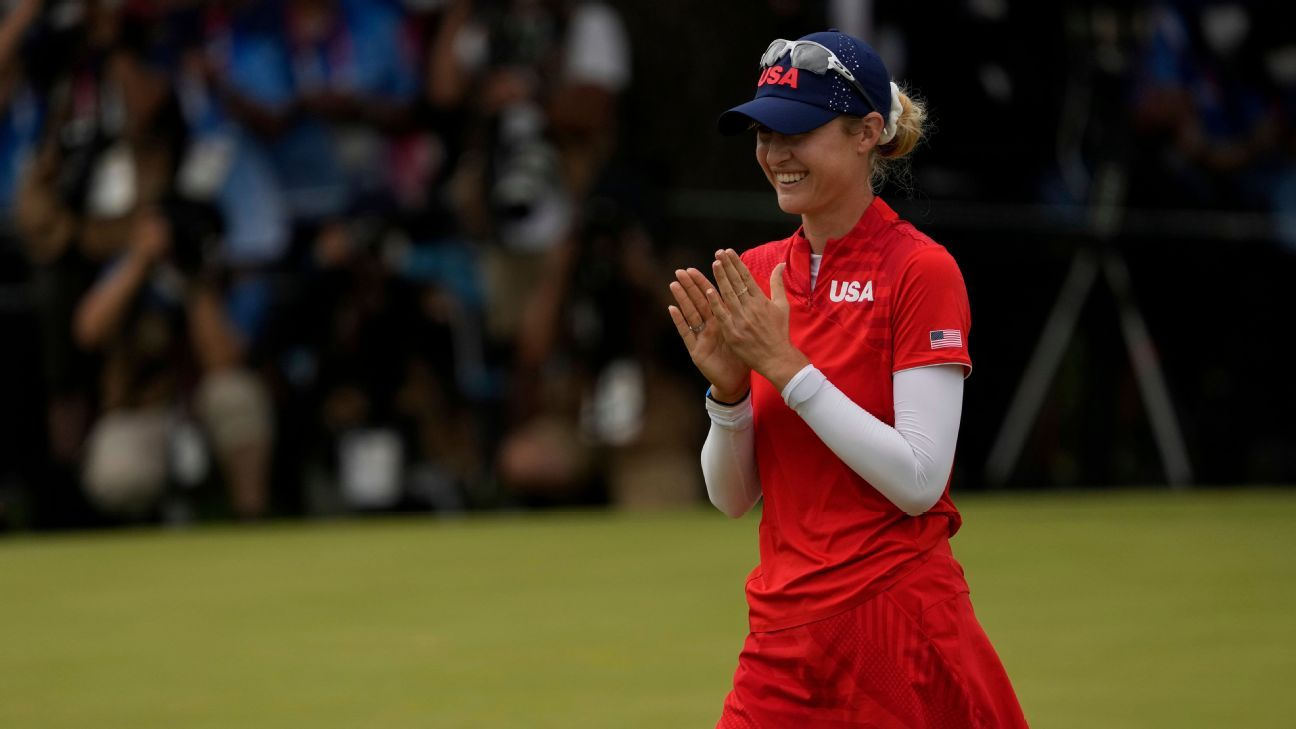 Nelly Korda showed calm dominance as Team USA finished off a golf gold-medal sweep at the Olympics