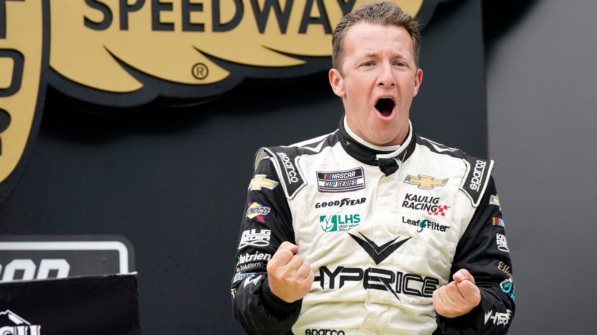 AJ Allmendinger survives chaos, carnage to win NASCAR Cup race on IMS road course